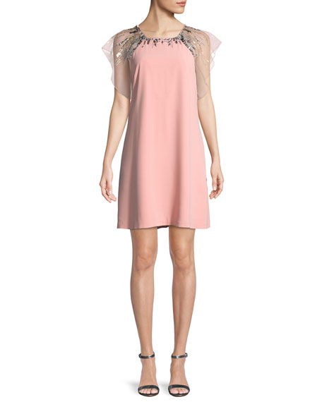 Aidan Mattox Embellished Flutter-Sleeve Mini Dress