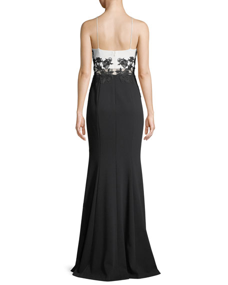 Colorblock Scuba Crepe Gown w/ Lace Appliqué