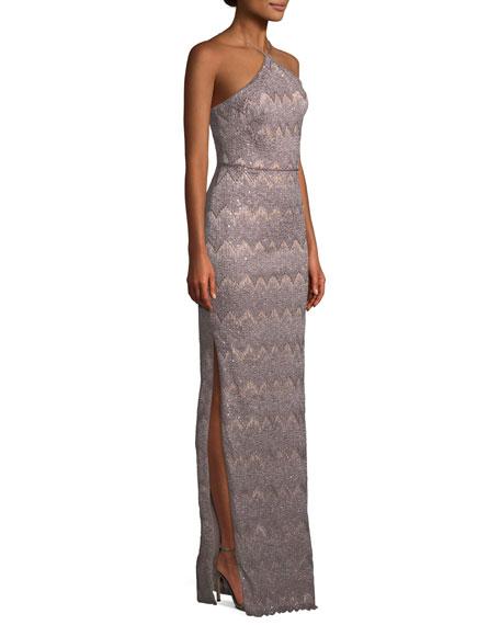 Long Column Halter Dress w/ Right Slit