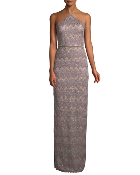 Aidan Mattox Long Column Halter Dress w/ Right
