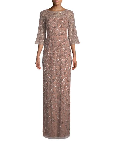 AIDAN MATTOX Beaded Three-Quarter-Sleeve Gown in Rose Gold