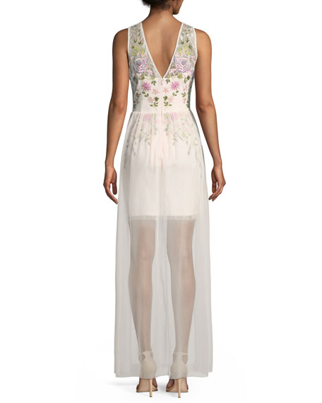 Floral Embroidered Gown w/ Overlay Skirt