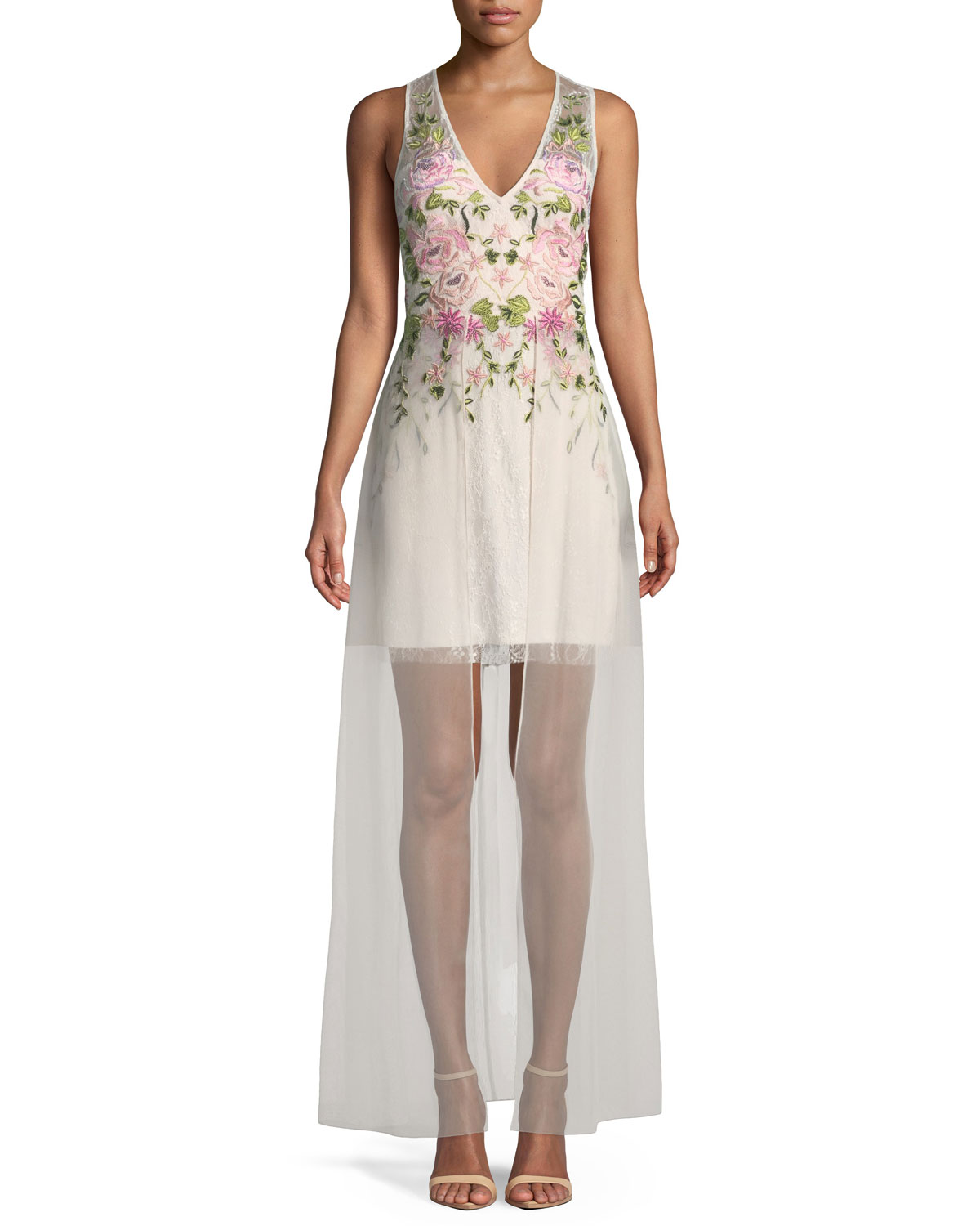 Aidan Mattox Floral Embroidered Gown w/ Overlay Skirt | Neiman Marcus
