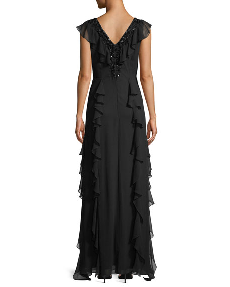 V-Neck Ruffle Gown w/ Beading