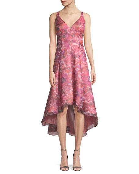 Aidan Mattox Sleeveless Floral Dress w/ High-Low Skirt