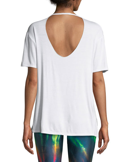 Slash Shoulder Short-Sleeve V-Neck Tee