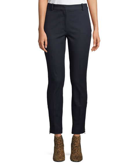 Zoom Ankle-Zip Gabardine Ankle Pants