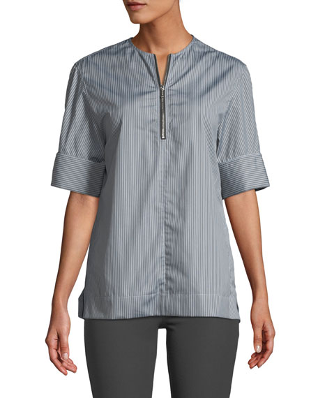Joseph Brair Pinstripe Quarter-Zip Poplin Shirt
