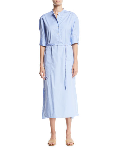 Barker Pinstriped Belted Shirtdress