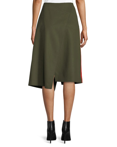 Page Felt Side-Striped Asymmetric Skirt