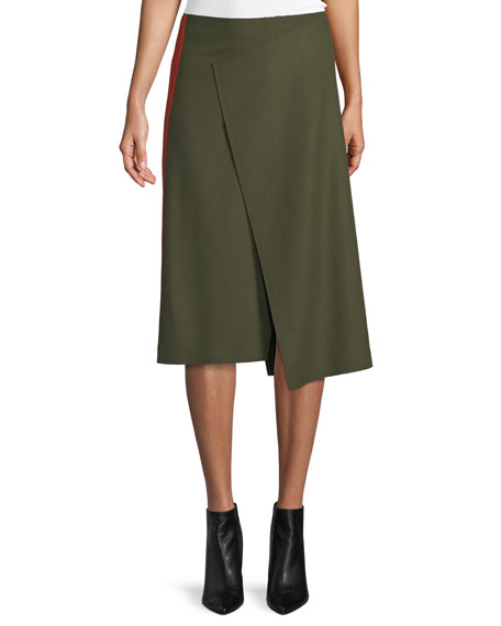 Joseph Page Felt Side-Striped Asymmetric Skirt