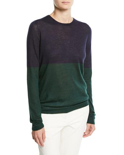 Cashmere Colorblock Crewneck Sweater
