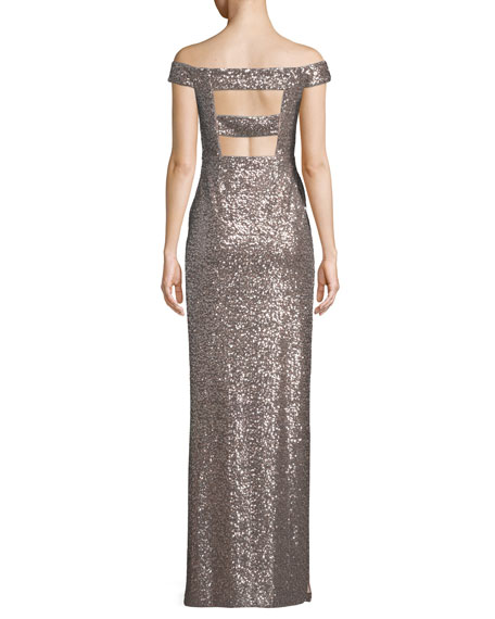 Off-the-Shoulder Two-Tone Sequin Gown