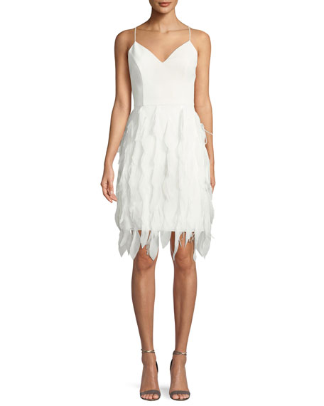 Aidan by Aidan Mattox Sleeveless Feather Textured Dress