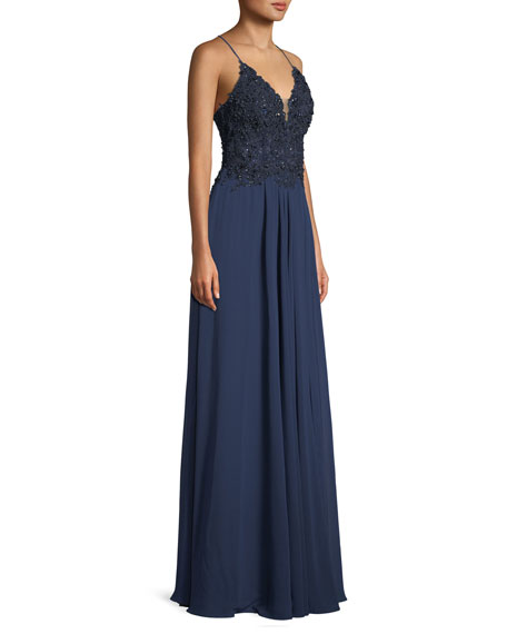 Chiffon & Beaded Lace-Up Gown