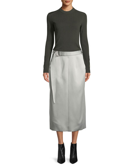 Byron Slim Crepe Satin Midi Skirt with Belt