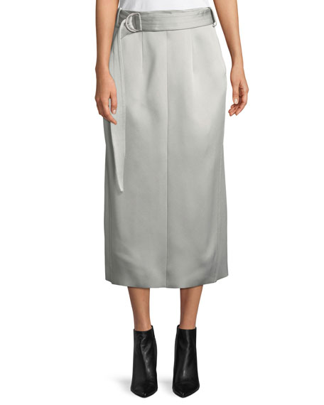 Joseph Byron Slim Crepe Satin Midi Skirt with