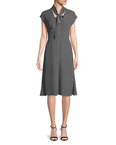 Gabby Polka-Dot Silk Tie-Neck Dress