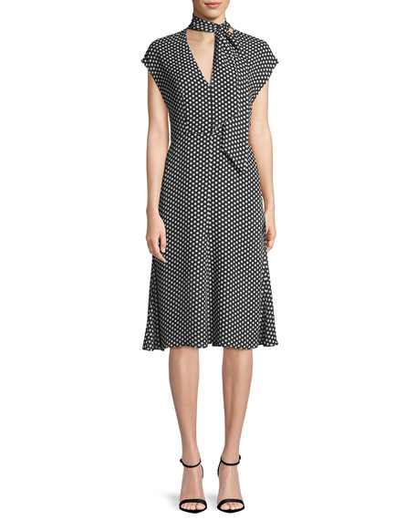 Milly Gabby Polka-Dot Silk Tie-Neck Dress
