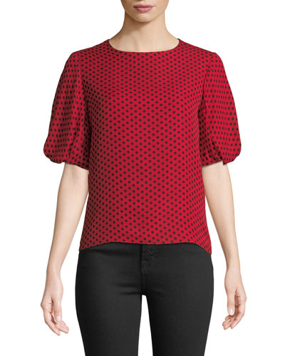 Melinda Polka-Dot Silk Top