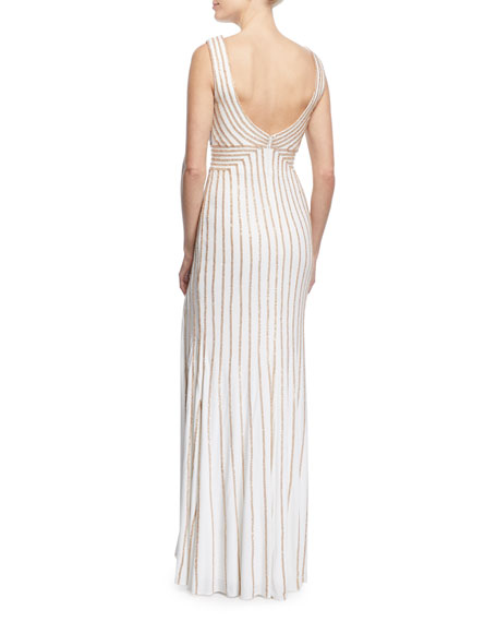 Sleeveless Beaded Jersey Dress