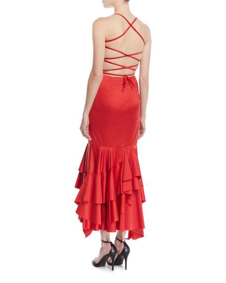 Doria Strappy-Back Satin Apron Dress