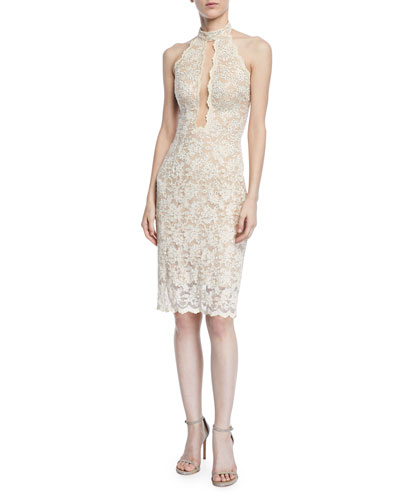 Sleeveless Lace Halter Dress