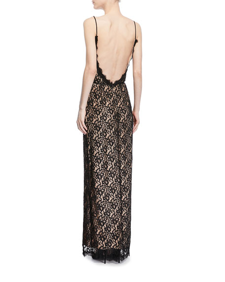 Sleeveless Slit Lace Column Gown