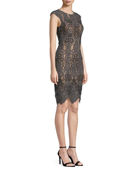Stretch Lace Cap-Sleeve Dress w/ Scalloped Hem