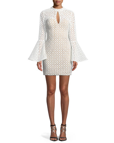 Lace Bell-Sleeve Keyhole Mini Dress