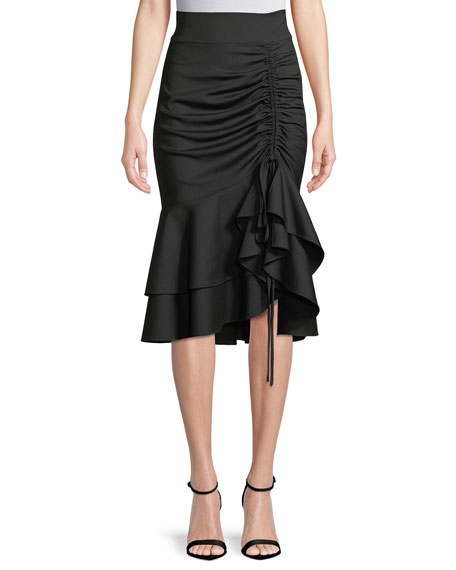 Flutter-Hem Ruched-Drawstring Skirt