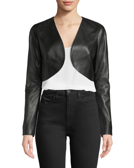 Milly Cropped Leather Bolero Jacket
