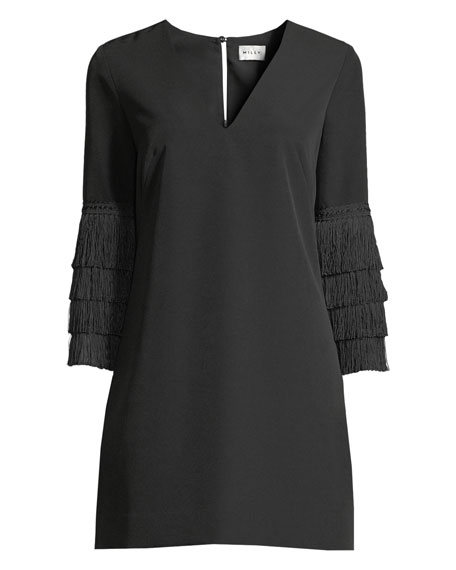 Nicole Fringe-Cuff Shift Dress