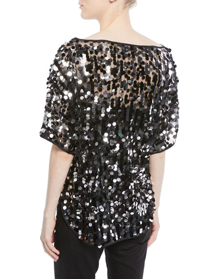 Sequin-Embellished Dolman Top