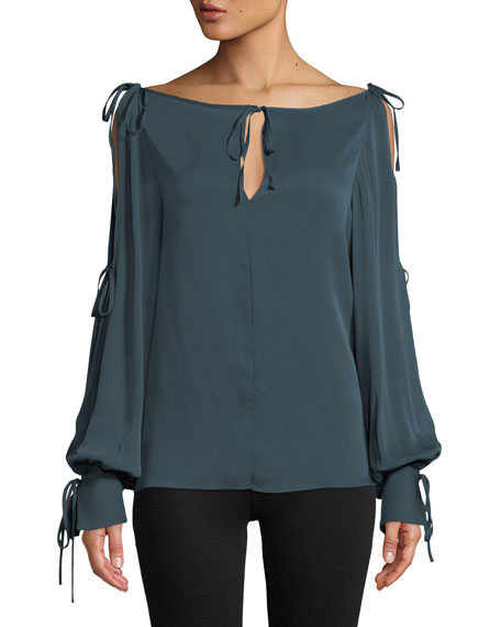 Milly Connie Silk-Stretch Top with Ties