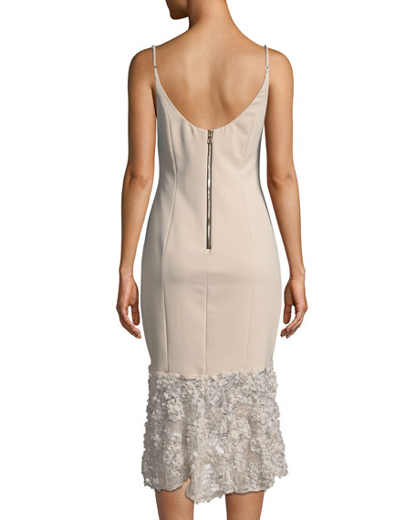 Milly Sleeveless Tea-Length Dress w/ Lace Bottom