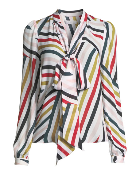 Neck-Tie Striped Silk Blouse