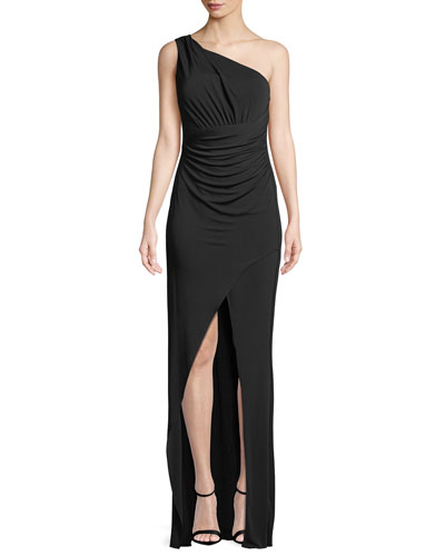 Kerri One-Shoulder Ruched Sleeveless Gown