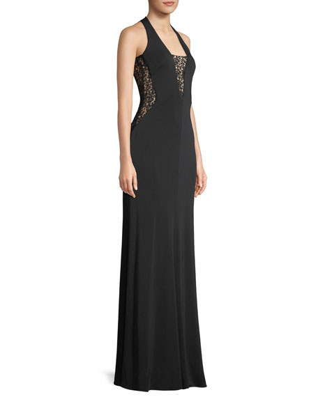 Riley Sleeveless Plunge-Back Lace Gown