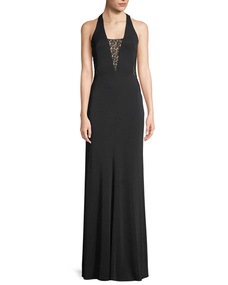 Maria Bianca Nero Riley Sleeveless Plunge-Back Lace Gown