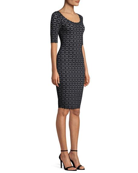 Laser-Cut Pointelle Sheath Dress