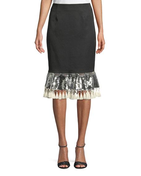 Sachin & Babi Noir Carsamba Sequin Tassel Skirt
