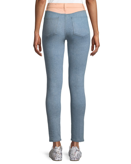 Phila High-Rise Skinny-Leg Jeans with Colorblocking Detail