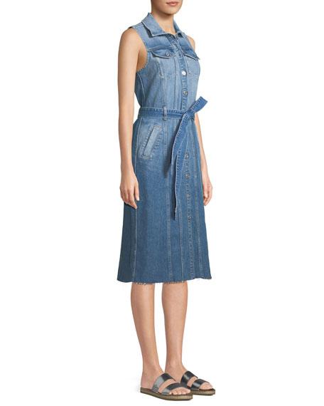 Trucker Vest Button-Down Sleeveless Denim Dress