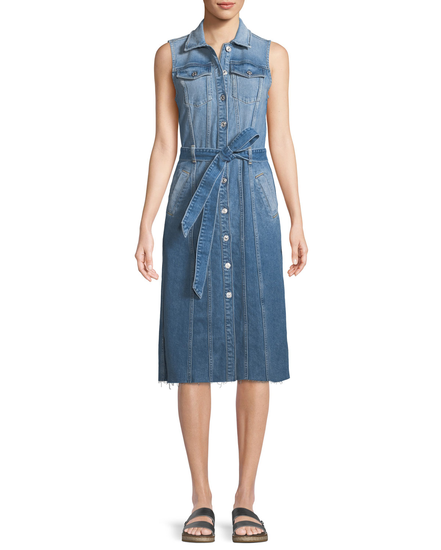 b4320c39c74041 7 for all mankind Trucker Vest Button-Down Sleeveless Denim Dress ...