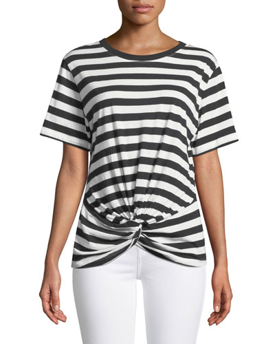 Crewneck Short-Sleeve Knotted-Front Striped Tee