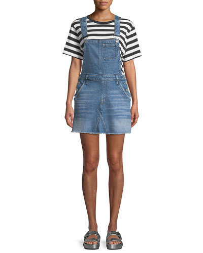 Mini Skirt Denim Overall Dress