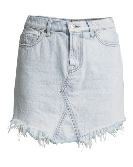 Denim Skirt w/ Scallop Hem