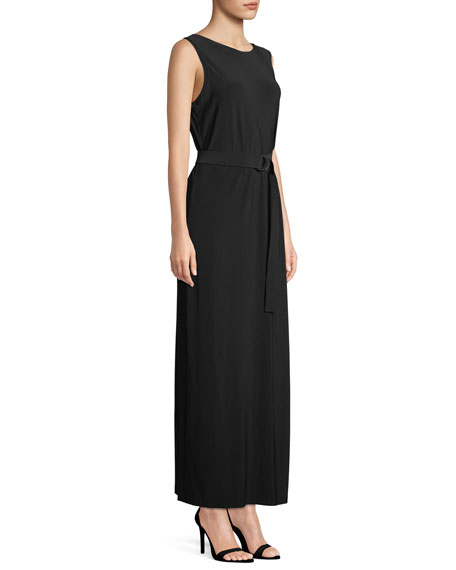 Sleeveless Open-Back Gown w/ D-Ring Belt