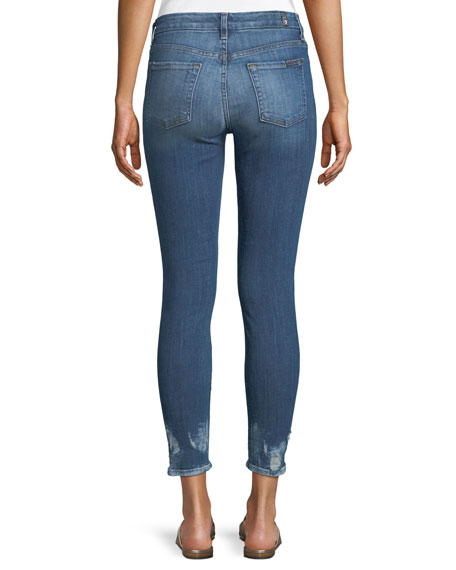Ankle-Length Bleached Hem Skinny Jeans